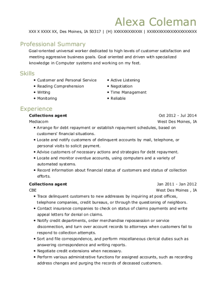 Collections agent resume sample Iowa