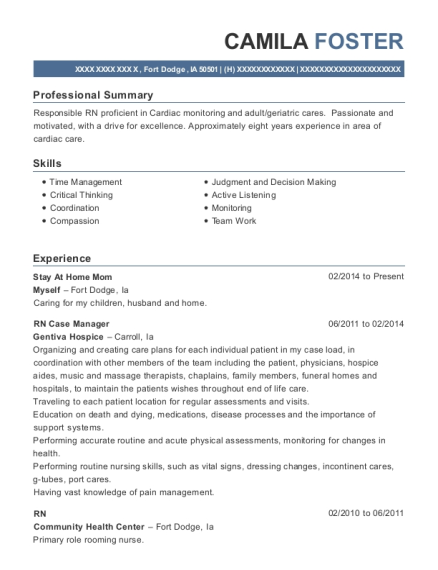 Stay At Home Mom resume template Iowa