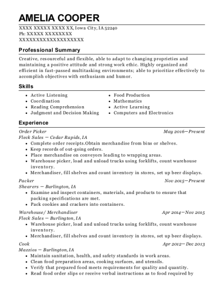 Order Picker resume template Iowa