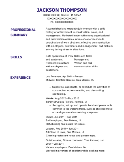 Job Foreman resume sample Iowa
