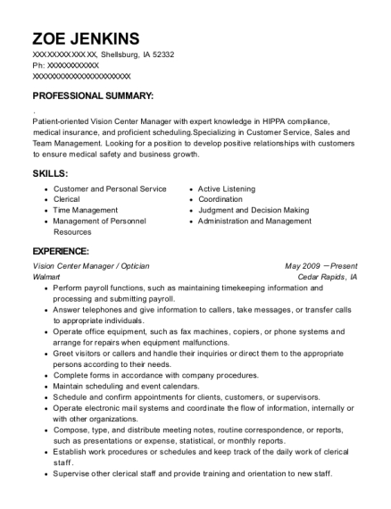 Vision Center Manager resume example Iowa