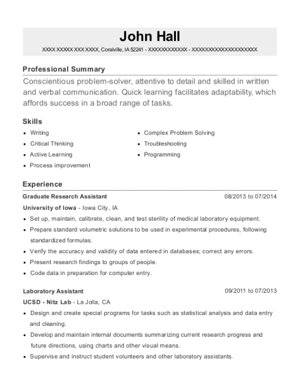 Graduate Research Assistant resume example Iowa