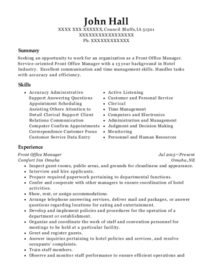 Front Office Manager resume sample Iowa