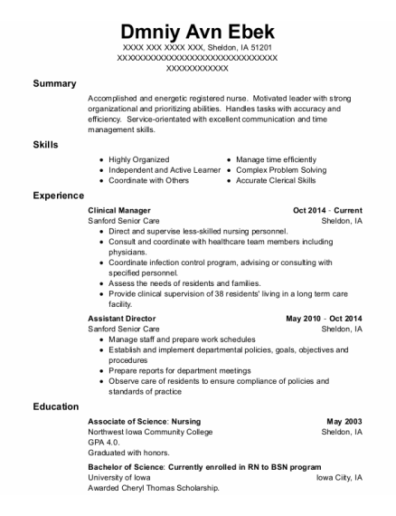 Clinical Manager resume example Iowa