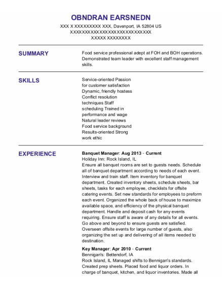 Banquet Manager resume template Iowa