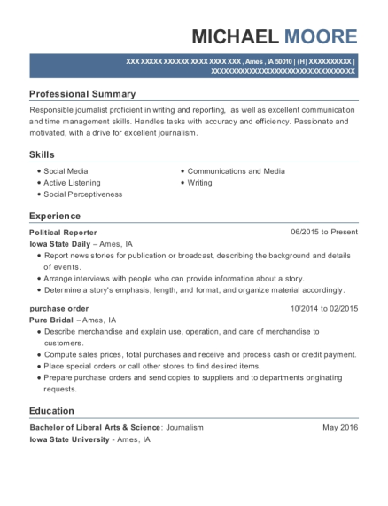 Political Reporter resume format Iowa