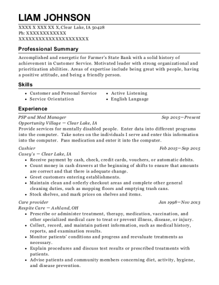 PSP and Med Manager resume sample Iowa