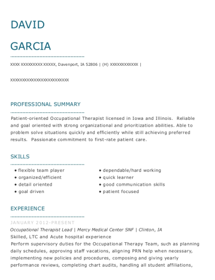 Occupational Therapist Lead resume example Iowa