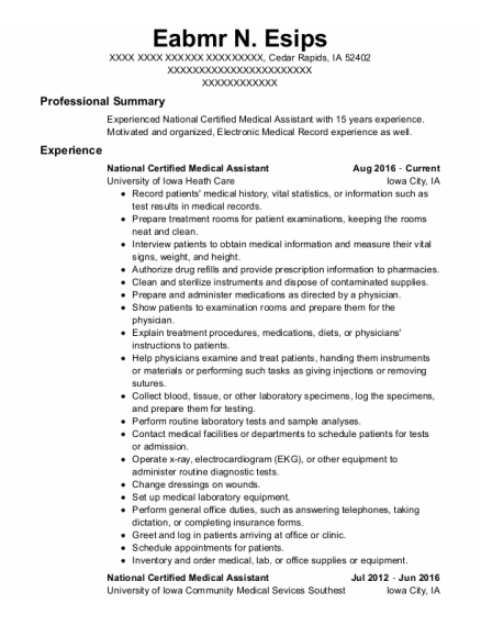 National Certified Medical Assistant resume template Iowa
