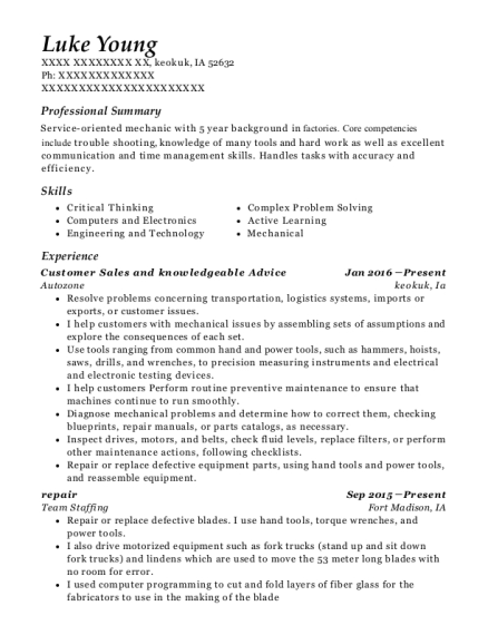 Customer Sales and knowledgeable Advice resume template Iowa