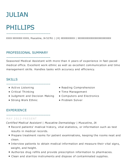 Certified Medical Assistant resume template Iowa