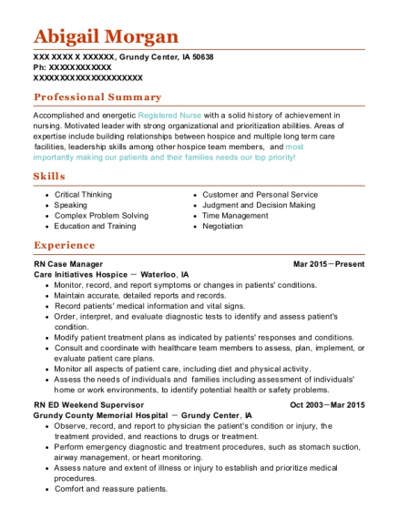 RN Case Manager resume sample Iowa