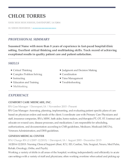 RN Case Manager resume format Iowa