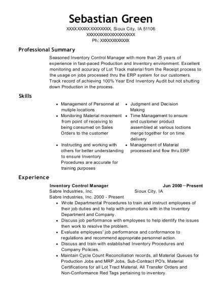 Inventory Control Manager resume example Iowa