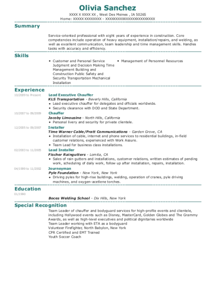 Lead Executive Chauffer resume sample Iowa