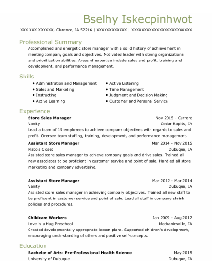 Store Sales Manager resume format Iowa