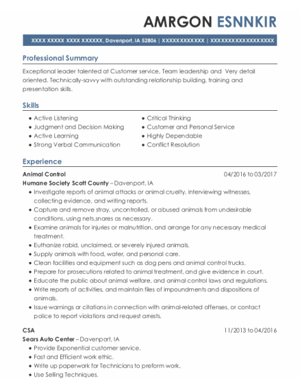 Animal Control Officer resume format Iowa