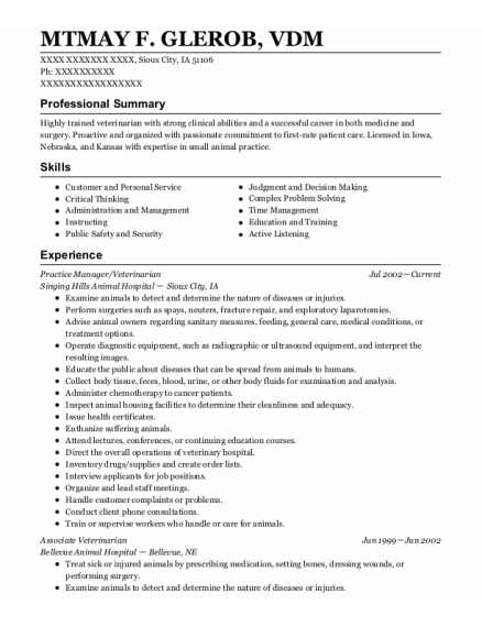 Practice Manager resume template Iowa