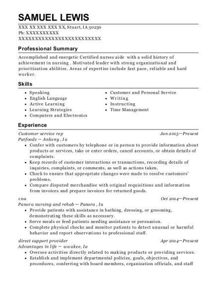 Customer service rep resume format Iowa
