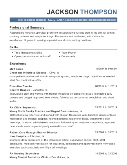 Staff Nurse resume example Iowa