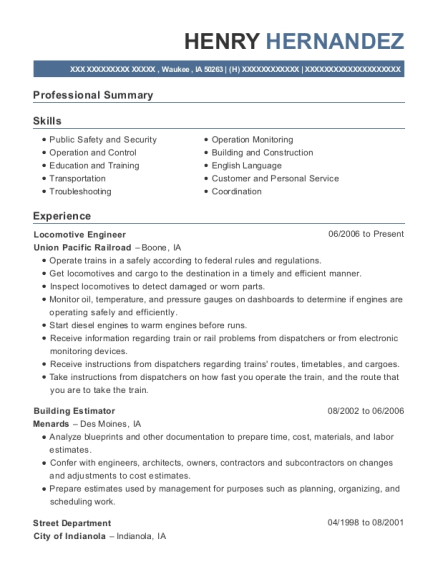 Locomotive Engineer resume sample Iowa