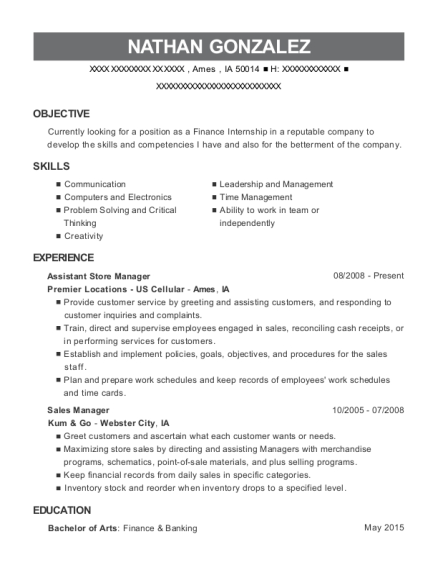 Assistant Store Manager resume example Iowa