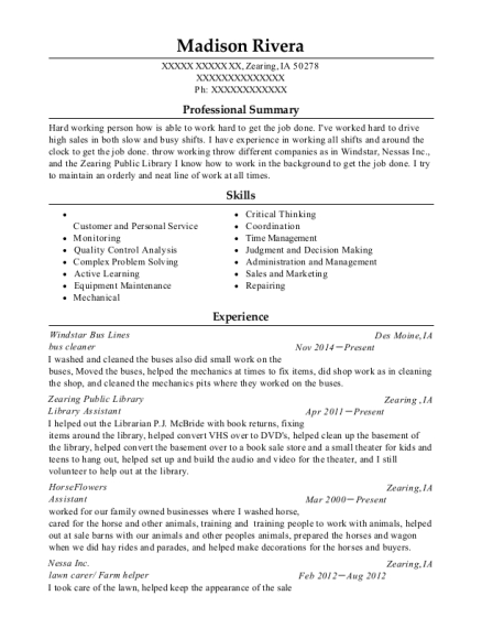 bus cleaner resume format Iowa