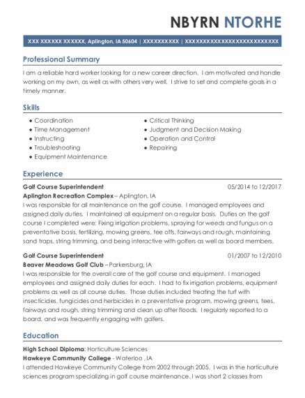 Golf Course Superintendent resume format Iowa