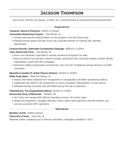 Treasurer resume format Iowa