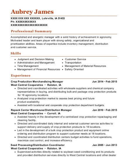 Crop Production Merchandising Manager resume template Iowa