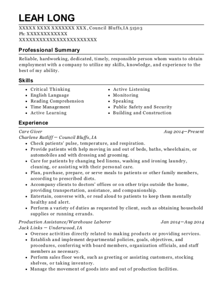 Care Giver resume sample Iowa
