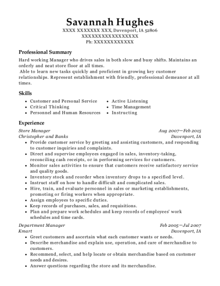 Store Manager resume template Iowa