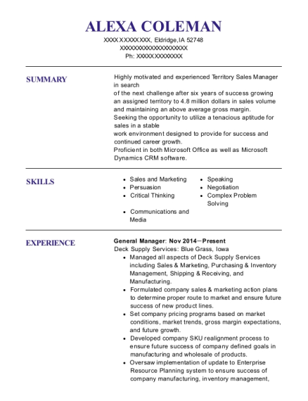 General Manager resume sample Iowa
