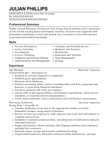 Spa Manager resume sample Iowa