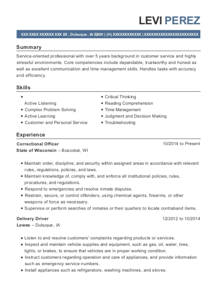 Correctional Officer resume format Iowa