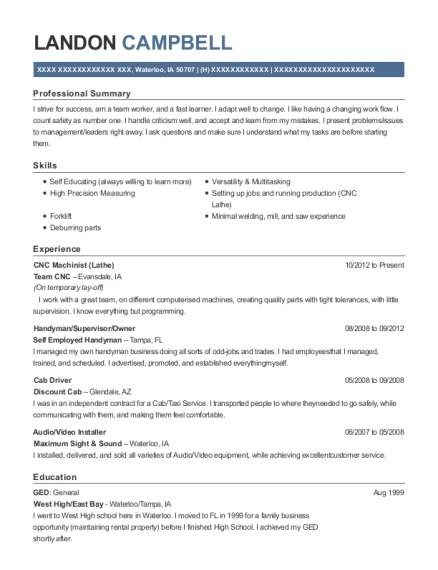 CNC Machinist resume example Iowa
