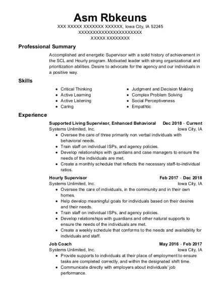 Hourly Supervisor resume example Iowa