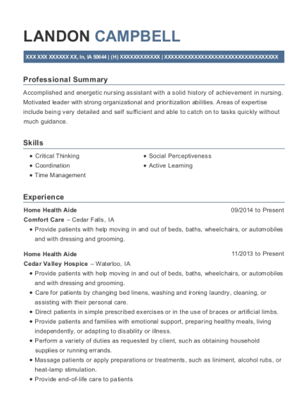 Home Health Aide resume format Iowa