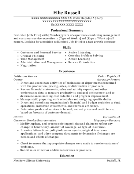 Owner resume example Iowa