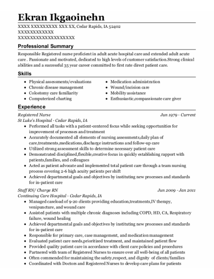 Registered Nurse resume template Iowa