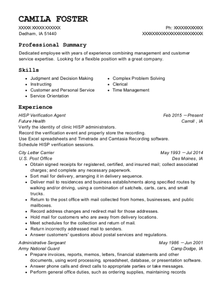 HISP Verification Agent resume template Iowa
