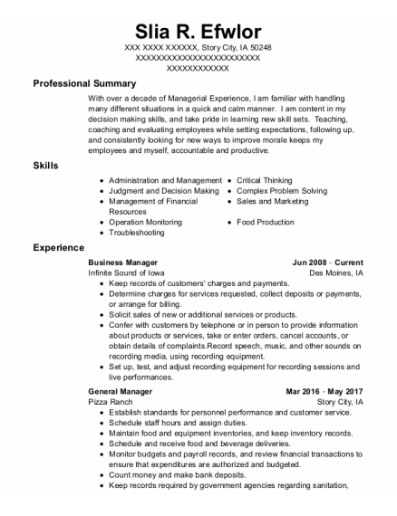 Business Manager resume example Iowa