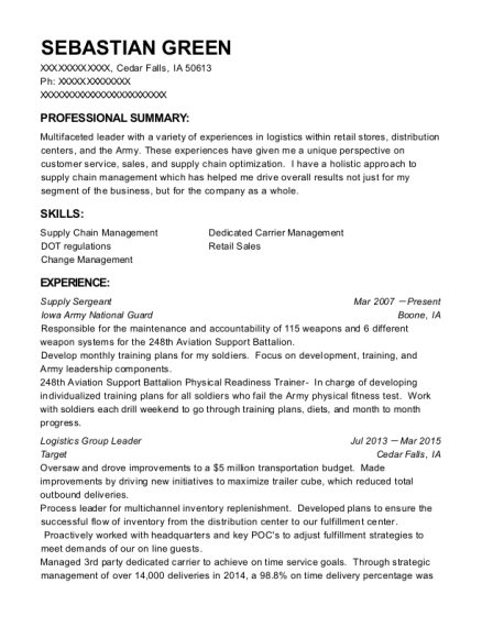 Supply Sergeant resume sample Iowa