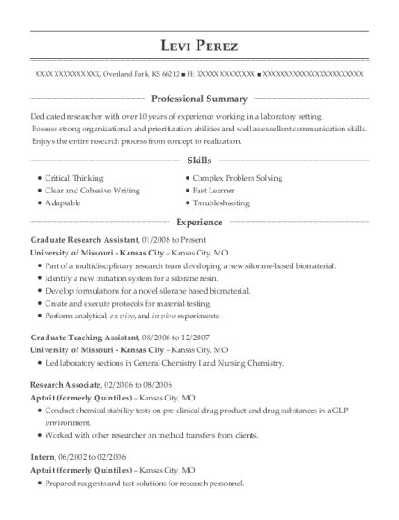 Graduate Research Assistant resume template Kansas