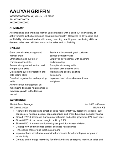 Market Sales Manager resume sample Kansas
