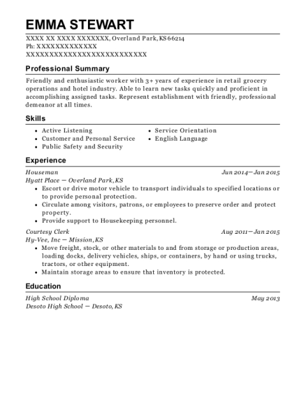Houseman resume example Kansas
