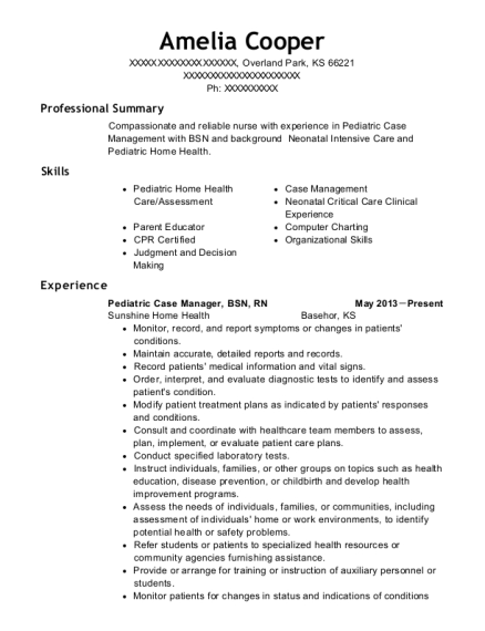 Pediatric Case Manager resume format Kansas