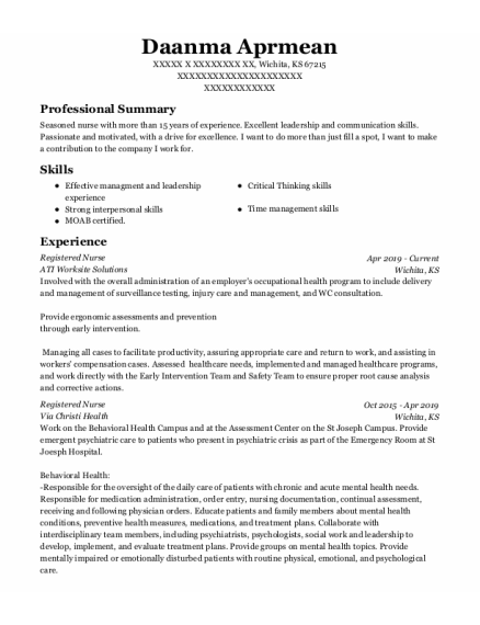 Assistant Nurse Manager resume example Kansas