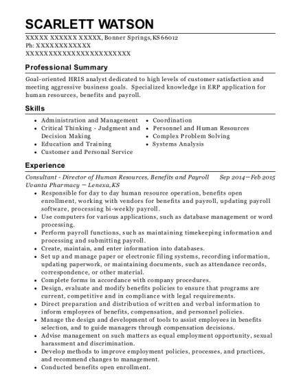 direct supply hris analyst resume sample