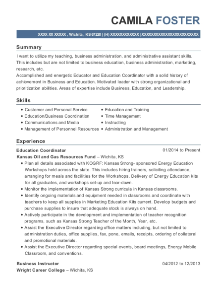 Education Coordinator resume template Kansas